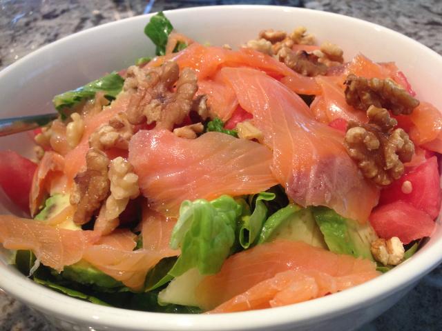 Salmon Salad with Walnuts